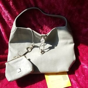 DOONEY & BOURKE Logo Lock Shoulder Bag Gray NWOT